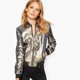 MADEMOISELLE R Reversible Leather Metallic Bomber Jacket