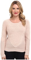 Vince Camuto L/S Eyelash Yarn Sweater w/ Contrast Sleeve