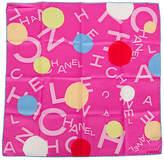 One Kings Lane Vintage Chanel Hot Pink Logo Pocket Scarf