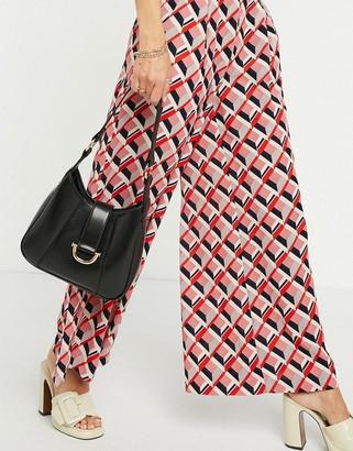 ASOS DESIGN saddle shoulder bag with hardware in glossy black