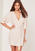 Missguided Faux Suede Kimono Dress Nude