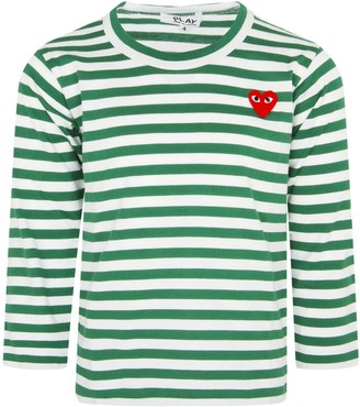 Comme des Garcons White And Green Striped T-shirt With Heart