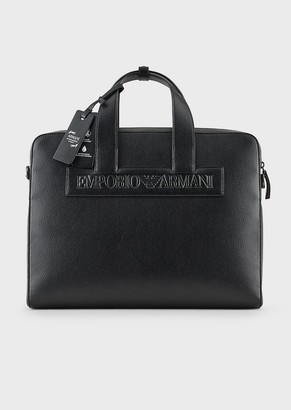 Emporio Armani Satchel In Regenerated Leather With Patch