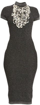 Balmain Pearl Embroidered Knit Midi Dress
