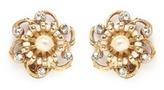 Miriam Haskell Crystal Baroque pearl filigree floral stud earrings