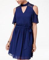 Amy Byer Juniors' Cold-Shoulder Choker Dress