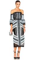 Erdem Sissy Exposed Shoulder Midi Dress