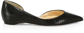 Christian Louboutin Iriza Croc-Embossed Leather Flats