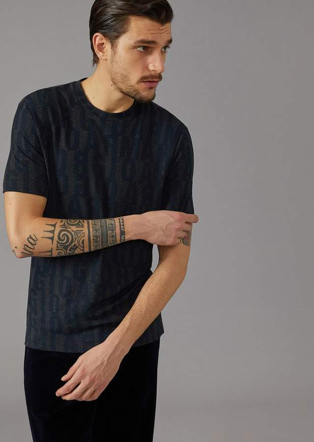 Giorgio Armani T-Shirt In Stretch Viscose Jersey With Lettering Print