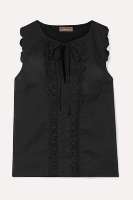 J.Crew Crochet-trimmed Cotton-voile Blouse - Black