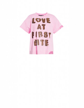Love Moschino T-shirt Love At First Bite Woman Pink Size 38 It - (4 Us)