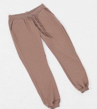 ASOS DESIGN Maternity basic joggers with tie in organic cotton in cocoa