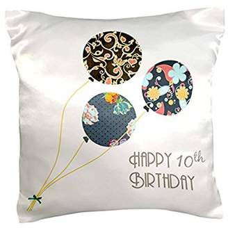 3drose 3dRose Happy 10th Birthday - Modern stylish floral Balloons. Elegant black brown blue 10 year old Bday, Pillow Case, 16 by 16-inch