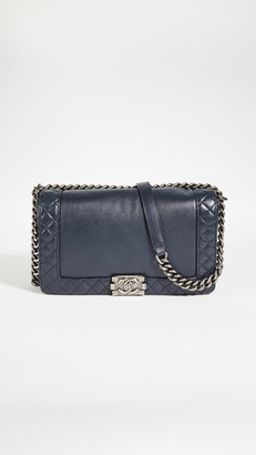 What Goes Around Comes Around Chanel Navy Lambskin Boy Large Bag