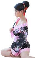 FLLT Women's Cospaly Lingerie Japan Kimono Costume Sleepwear Robe Set G Strings