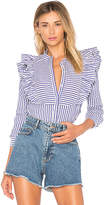 Anine Bing Striped Frill Blouse in Blue. - size L (also in M,S)