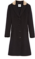 Moschino Cheap & Chic Pearl-Embellished Felt-Wool Coat
