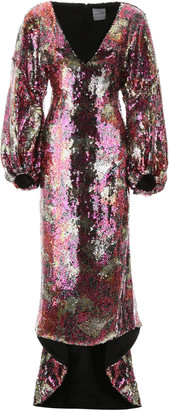 Halpern Long Sequins Dress