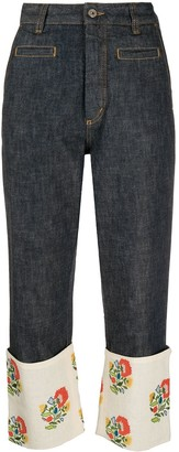 Loewe Fisherman floral-embroidered jeans