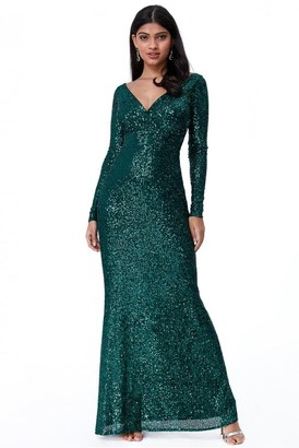 Goddiva Sequin Stripe Maxi Dress with long sleeves - Emerald