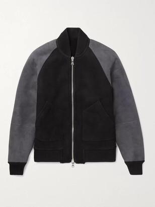 Mr P. Reversible Colour-Block Shearling Bomber Jacket