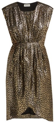 Masscob Troya Silk-lurex Leopard-pattern Dress - Black Gold