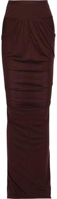 Rick Owens Lilies Ribbed Knit-paneled Jersey Maxi Skirt