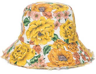 Zimmermann Frayed floral linen bucket hat