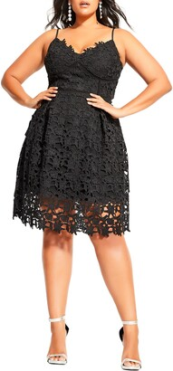 City Chic So Fancy Lace Fit & Flare Cotton Dress