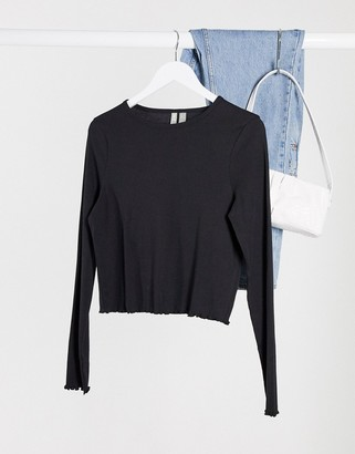 ASOS DESIGN slim fit long sleeve top with lettuce edge in black