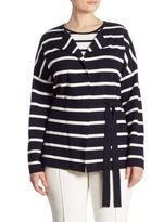 Basler, Plus Size Striped Knit Cardigan