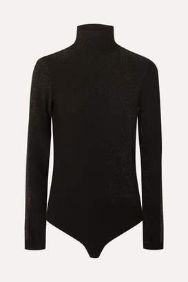 Wolford Silver Dust Metallic Stretch-jersey Turtleneck Thong Bodysuit - Black