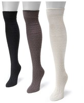 Muk Luks Women's 3 Pair Pack Diamond Knee High Socks - Multicolor One Size