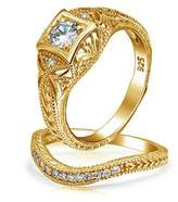 Bling Jewelry Antique Style Gold Plated Cz Waved Engagement Wedding Ring Set.