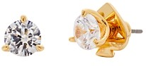 Kate Spade Brilliant Statements Gold-Tone Cubic Zirconia 3 Prong Mini Stud Earrings