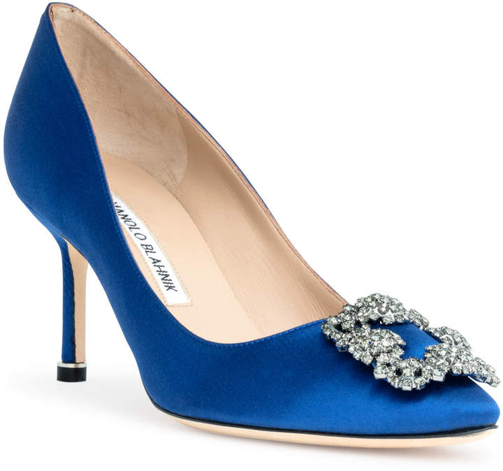 Manolo Blahnik Hangisi 70 Royal Blue satin pump