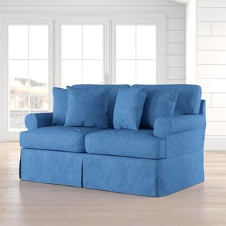 """Beachcrest Home Rundle Cotton 66"""" Round Arm Loveseat Fabric: Indigo Blue Cotton"""