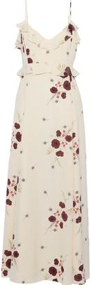 Joie Cassiel Floral-print Swiss-dot Crepe De Chine Maxi Slip Dress