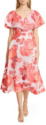 Lela Rose Floral Jacquard Popover Midi Dress