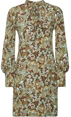 Chloé Pussy-bow Printed Crepe Mini Dress