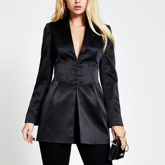 River Island Black corset waist long sleeve satin blazer