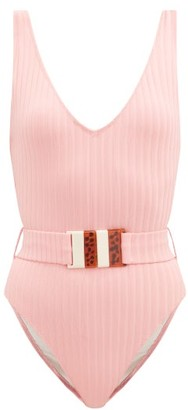 Solid & Striped The Michelle Belted Ribbed-jersey Swimsuit - Pink