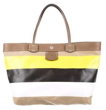 Ghurka Leather-Trimmed Striped Tote