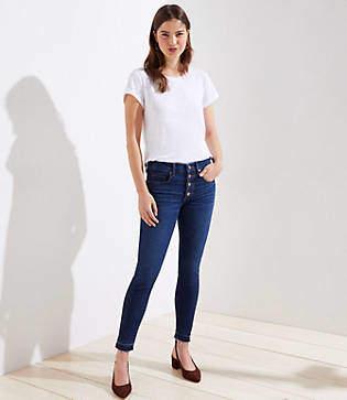 LOFT Petite Earth Month Modern High Waist Slim Pocket Skinny Jeans in Rich Mid Indigo Wash
