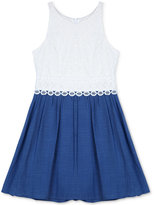 Amy Byer Crochet to Chambray A-Line Dress, Big Girls (7-16)