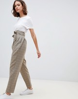 Asos Design DESIGN high waist balloon tapered pants in heritage check