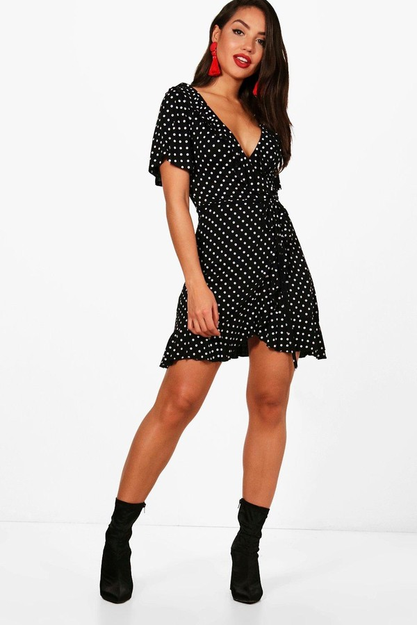 boohoo Wrap Polka Dot Print Frill Detail Tea Dress