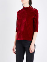 Mo&Co. High-neck velour top