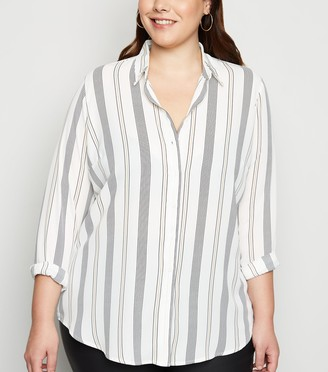 New Look Curves Stripe Crepe Shirt