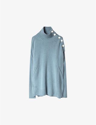 Zadig & Voltaire Alma buttoned-shoulder cashmere jumper